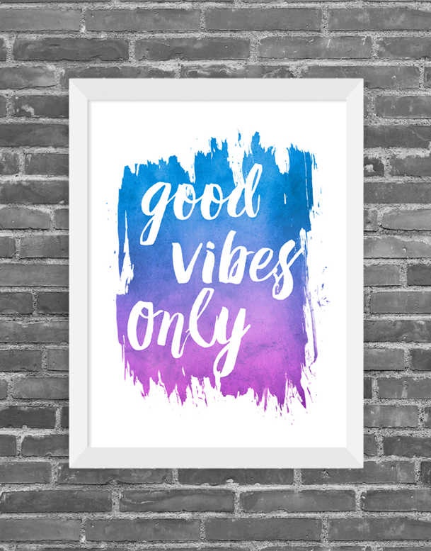 Cuadro Happy Good Vibes only, Tamaño 24.5X30.5cm