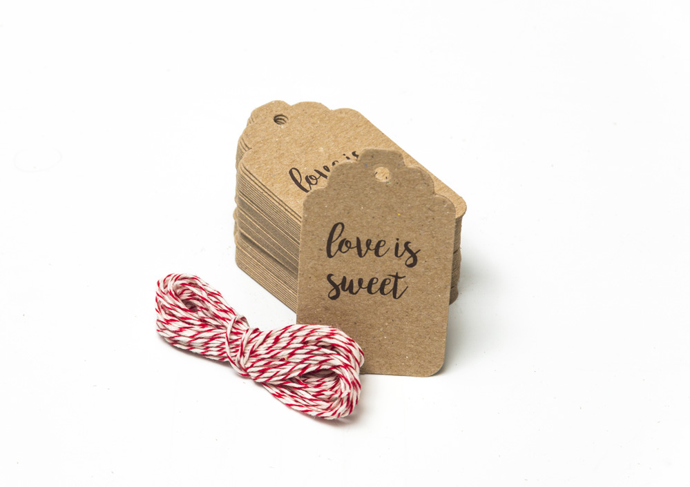 Tarjetas Etiquetas Vintage Kraft Tags 7x4cm Love is Sweet
